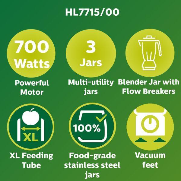 Philips Juicer Mixer Grinder Viva HL7715 - 700Watt 3 Jars