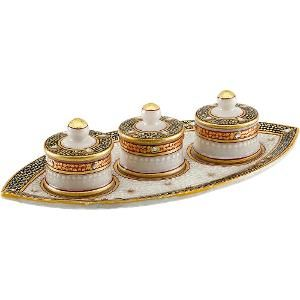 Aapno Rajasthan Gold Embossed Boat Shaped Tray with Utility Containers