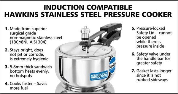 Hawkins  Stainless Steel  Contura Pressure Cooker 2 L