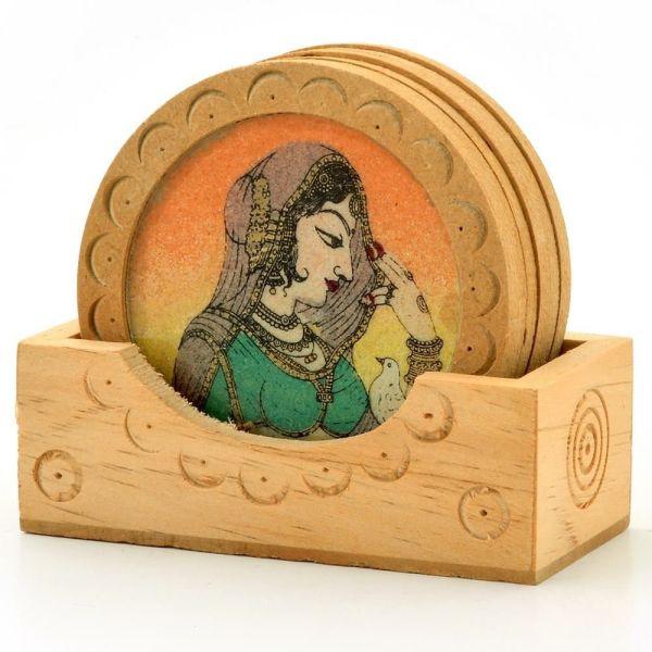 Gemstone Painting Wooden Tea Coasters Gift