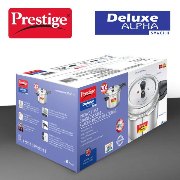 Prestige Pressure Cooker Deluxe Alpha Svachh 10 Litres