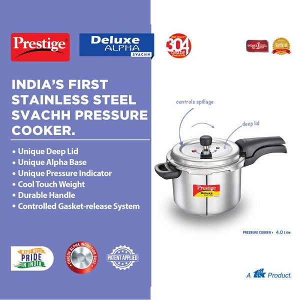 Prestige Pressure Cooker Deluxe Plus Stainless Steel - 4 Litres