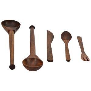 ExclusiveLane 5 Pc Sheesham Wood Kitchen Cutlery Set