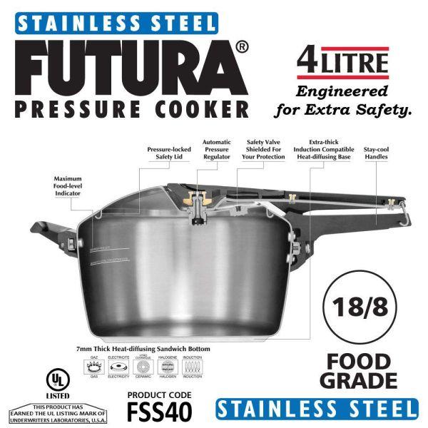 Hawkins Pressure Cooker Stainless  Steel  Futura - 4 L
