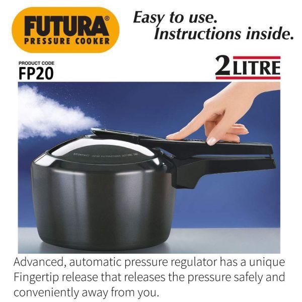 Hawkins Pressure Cooker Hard Anodised  Futura - 2 Litres
