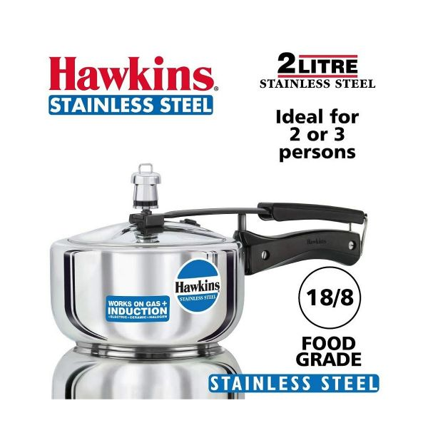 Hawkins Stainless Steel Pressure Cooker Classic  - 2 Litres