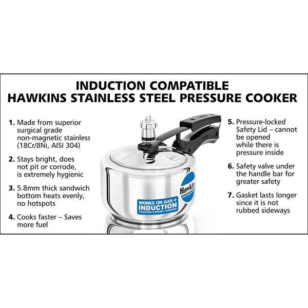 Hawkins Contura Stainless Steel Pressure Cooker 1.5 L