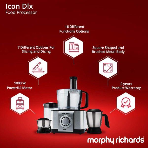 Morphy Richards Food Processor Icon Dlx 1000-Watt