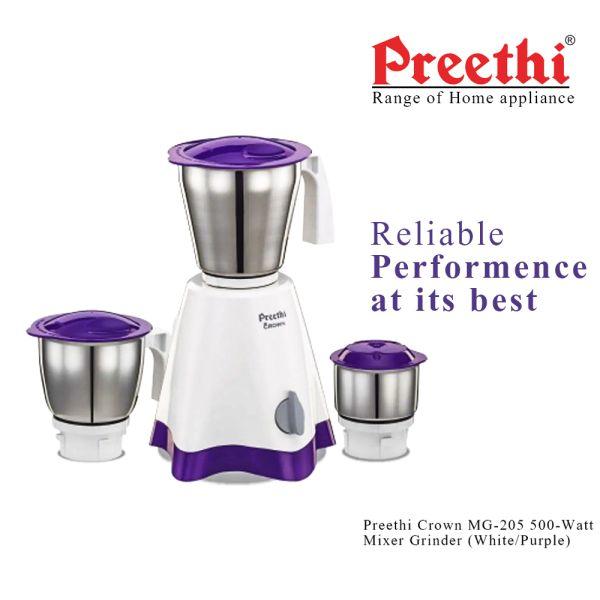 Preethi Mixer Grinder Crown MG 205 - 3 Jars 500 Watt