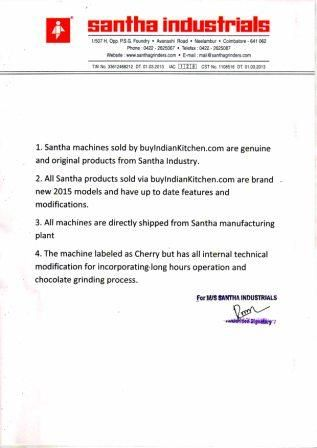 Santha Cherry Table Top Wet Grinder 2 Litre(outdated)