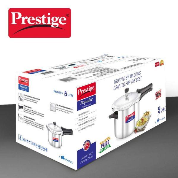 Prestige Pressure Cooker Popular SS  -  5 Litres
