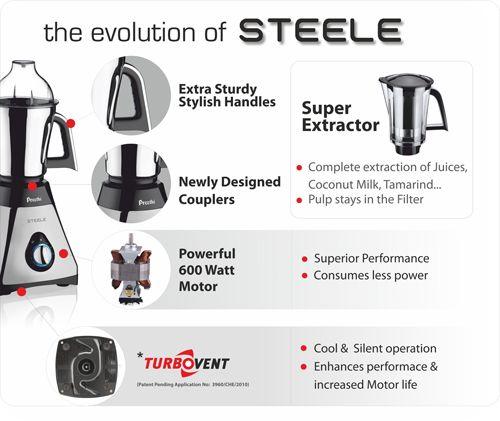 Preethi Mixer Grinder Steele Supreme MG 208 - 4 Jars 750 Watt