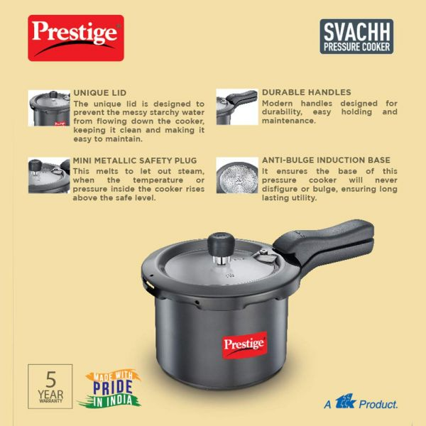 Prestige Pressure Cooker Svachh  with Hard Anodized - 3 Litres(Black)