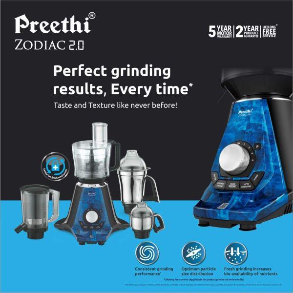 Preethi Mixer Grinder Zodiac 2.0 MG 235 - 4 Jars 750 Watt