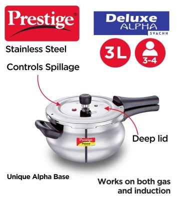 Prestige Deluxe Alpha Svachh Stainless Steel Pressure Mini Handi - 3Litres