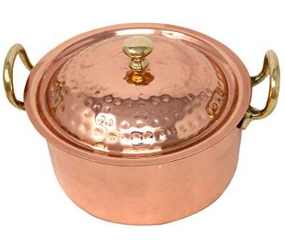 ShalinIndia Copper Cookware Pot with 2 Brass Handles and A Lid (1900ml)