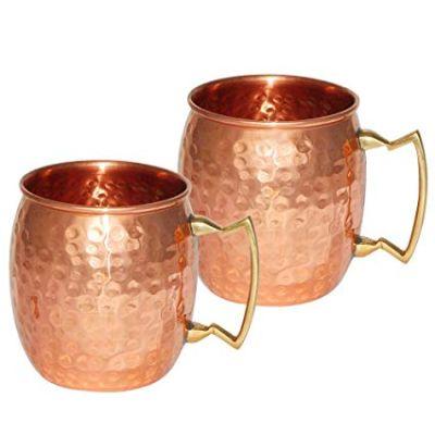 ShalinIndia Copperware  Drinkware Copper Mugs Set of 2