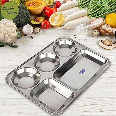 Sharda Metals Stainless Steel Dinner Plate/Thali with Rectangle Compartments, Set of ( 4Pieces)